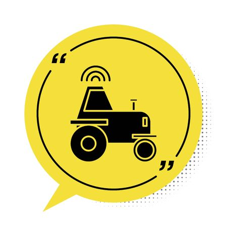 Black Self driving wireless tractor on a smart farm icon isolated on white background. Smart agriculture implement element. Yellow speech bubble symbol. Vector Illustration Ilustrace