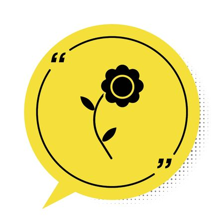 Black Flower icon isolated on white background. Yellow speech bubble symbol. Vector Illustration