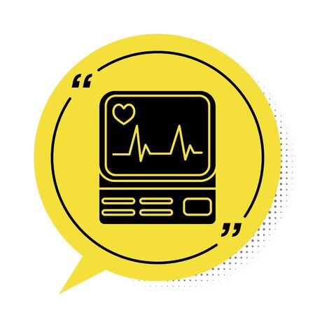 Black Computer monitor with cardiogram icon isolated on white background. Monitoring icon. ECG monitor with heart beat hand drawn. Yellow speech bubble symbol. Vector Illustration Illustration
