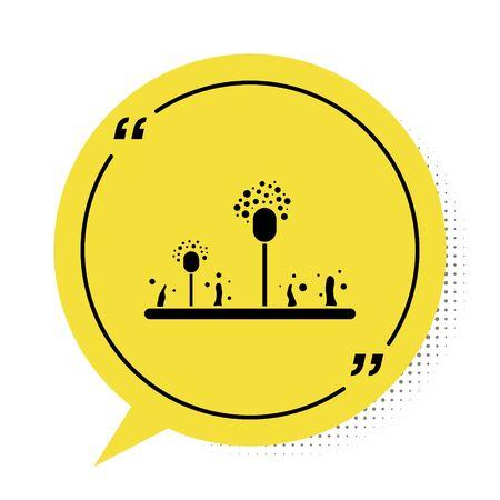 Black Mold icon isolated on white background. Yellow speech bubble symbol. Vector Illustration Illustration