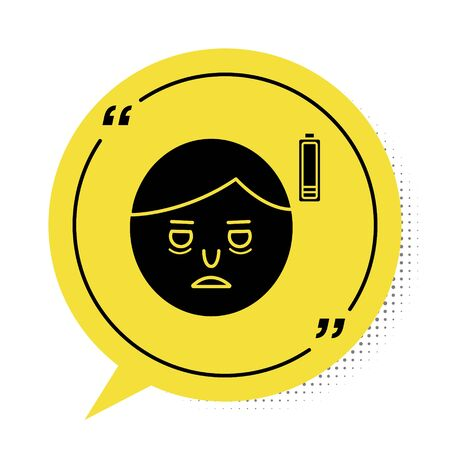 Black Fatigue icon isolated on white background. No energy. Stress symptom. Negative space. Yellow speech bubble symbol. Vector Illustration Çizim