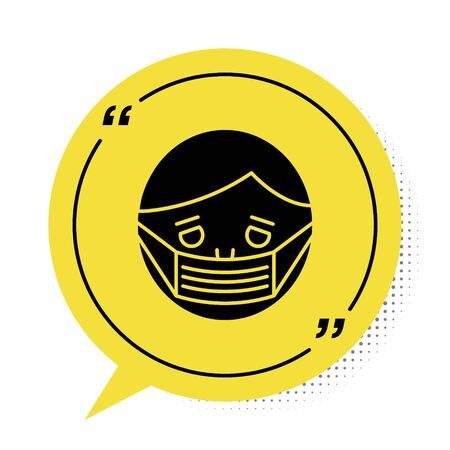 Black Man face in a medical protective mask icon isolated on white background. Quarantine. Yellow speech bubble symbol. Vector Illustration