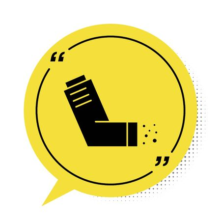 Black Inhaler icon isolated on white background. Breather for cough relief, inhalation, allergic patient. Medical allergy asthma inhaler spray. Yellow speech bubble symbol. Vector Illustration Illusztráció