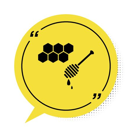 Black Honeycomb with honey dipper stickicon isolated on white background. Honey ladle. Honey cells symbol. Sweet natural food. Yellow speech bubble symbol. Vector Illustration