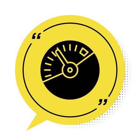 Black Speedometer icon isolated on white background. Yellow speech bubble symbol. Vector Illustration Ilustrace
