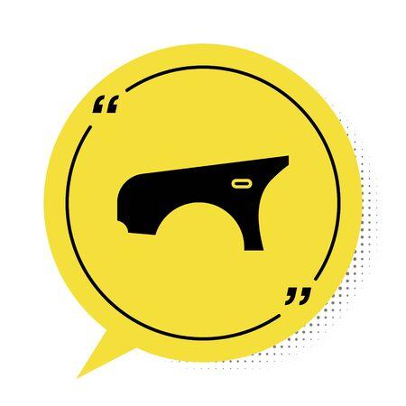 Black Car fender icon isolated on white background. Yellow speech bubble symbol. Vector Illustration