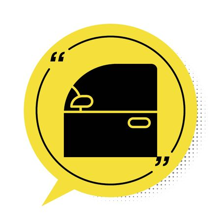 Black Car door icon isolated on white background. Yellow speech bubble symbol. Vector Illustration