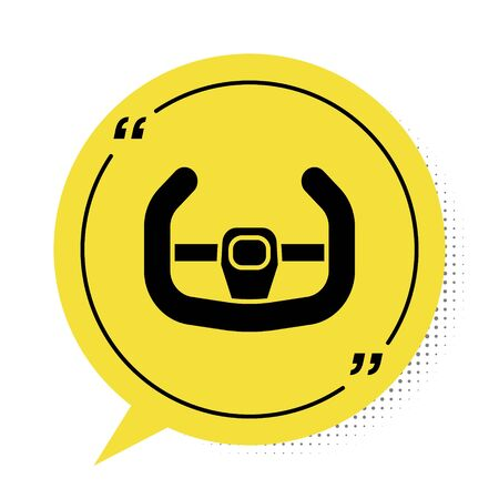 Black Sport steering wheel icon isolated on white background. Car wheel icon. Yellow speech bubble symbol. Vector Illustration