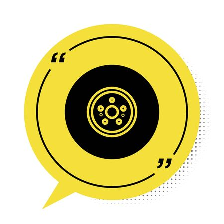 Black Car brake disk icon isolated on white background. Yellow speech bubble symbol. Vector Illustration