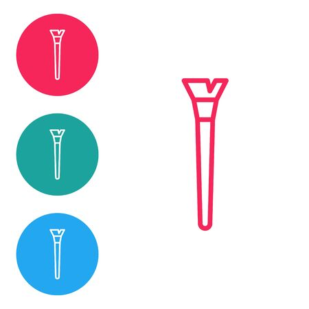 Red line Makeup brush icon isolated on white background. Set icons in circle buttons. Vector Illustration