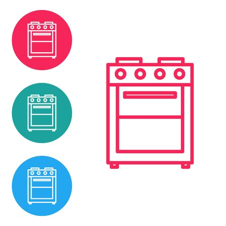 Red line Oven icon isolated on white background. Stove gas oven sign. Set icons in circle buttons. Vector Illustration