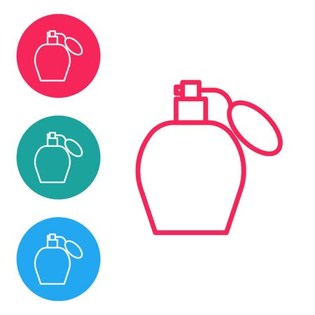 Red line Perfume icon isolated on white background. Set icons in circle buttons. Vector Illustration Ilustração