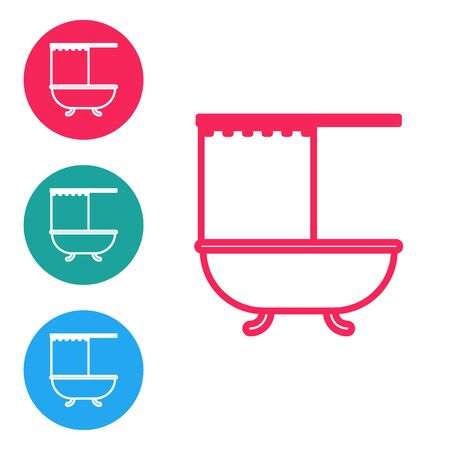 Red line Bathtub with open shower curtain icon isolated on white background. Set icons in circle buttons. Vector Illustration
