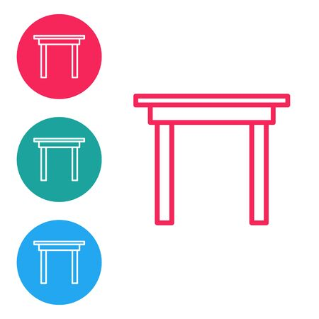Red line Wooden table icon isolated on white background. Set icons in circle buttons. Vector Illustration