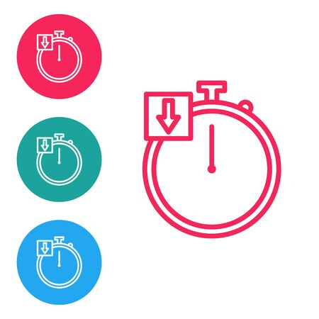 Red line Stopwatch icon isolated on white background. Time timer sign. Chronometer. Set icons in circle buttons. Vector Illustration