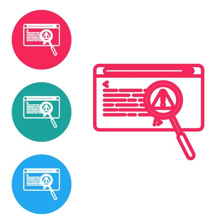 Red line System bug concept icon isolated on white background. Code bug concept. Bug in the system. Bug searching. Set icons in circle buttons. Vector Illustration