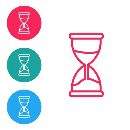 Red line Old hourglass with flowing sand icon isolated on white background. Sand clock sign. Business and time management concept. Set icons in circle buttons. Vector Illustration