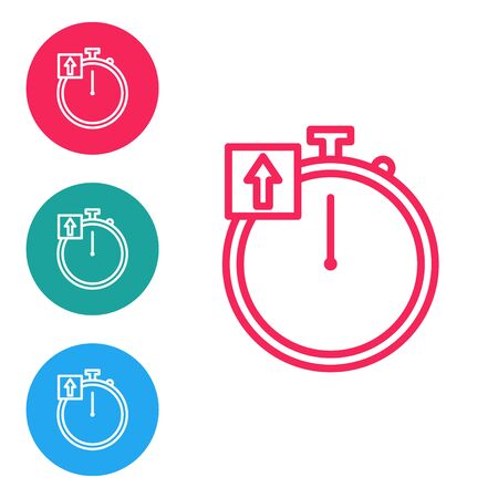 Red line Stopwatch icon isolated on white background. Time timer sign. Chronometer sign. Set icons in circle buttons. Vector Illustration