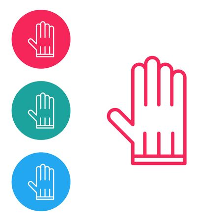 Red line Leather glove icon isolated on white background. Set icons in circle buttons. Vector Illustration Ilustração