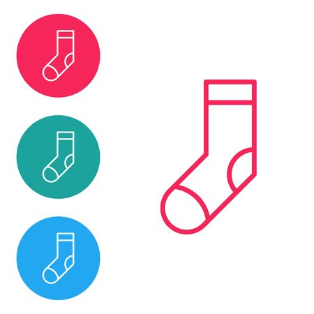 Red line Socks icon isolated on white background. Set icons in circle buttons. Vector Illustration