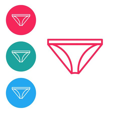 Red line Men underpants icon isolated on white background. Man underwear. Set icons in circle buttons. Vector Illustration