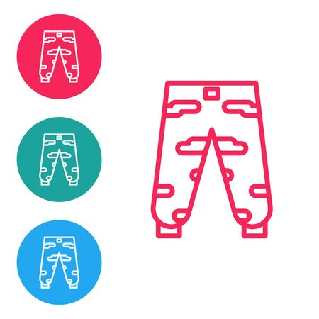 Red line Camouflage cargo pants icon isolated on white background. Set icons in circle buttons. Vector Illustration
