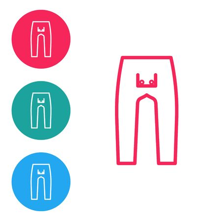 Red line Pants icon isolated on white background. Set icons in circle buttons. Vector Illustration Ilustração