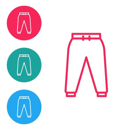 Red line Sport pants icon isolated on white background. Set icons in circle buttons. Vector Illustration
