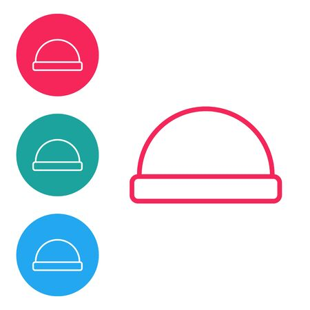Red line Beanie hat icon isolated on white background. Set icons in circle buttons. Vector Illustration