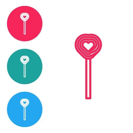 Red line Lollipop icon isolated on white background. Candy sign. Food, delicious symbol. Valentines day. Love symbol. Set icons in circle buttons. Vector Illustration