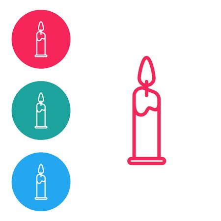 Red line Burning candle in candlestick icon isolated on white background. Cylindrical candle stick with burning flame. Set icons in circle buttons. Vector Illustration