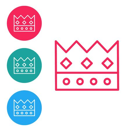 Red line King crown icon isolated on white background. Set icons in circle buttons. Vector Illustration Çizim