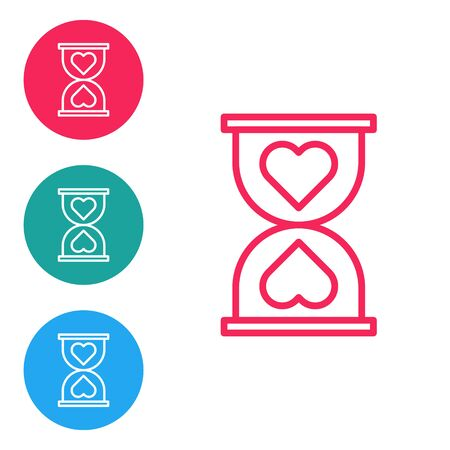 Red line Heart in the center old hourglass icon isolated on white background. Valentines day. Set icons in circle buttons. Vector Illustration