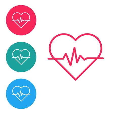 Red line Heart rate icon isolated on white background. Heartbeat sign. Heart pulse icon. Cardiogram icon. Set icons in circle buttons. Vector Illustration