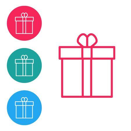 Red line Gift box and heart icon isolated on white background. Valentines day. Set icons in circle buttons. Vector Illustration