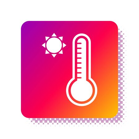 White Meteorology thermometer measuring heat and cold icon isolated on white background. Thermometer equipment showing hot or cold weather. Square color button. Vector Illustration Vektorové ilustrace