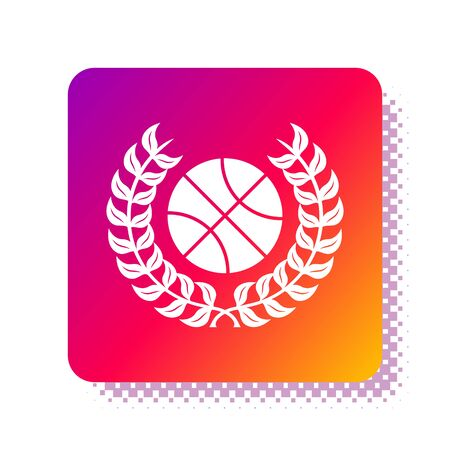 White Award with basketball ball icon isolated on white background. Laurel wreath. Winner trophy. Championship or competition trophy. Square color button. Vector Illustration