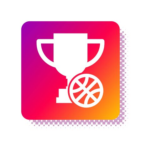 White Award cup with basketball ball icon isolated on white background. Winner trophy symbol. Championship or competition trophy. Square color button. Vector Illustration Illusztráció