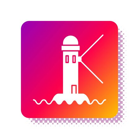 White Lighthouse icon isolated on white background. Square color button. Vector Illustration