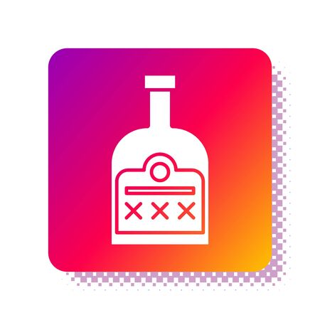 White Alcohol drink Rum bottle icon isolated on white background. Square color button. Vector Illustration