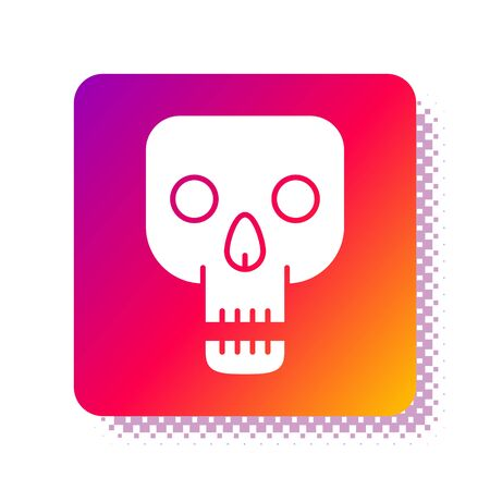 White Skull icon isolated on white background. Happy Halloween party. Square color button. Vector Illustration Фото со стока - 137965986