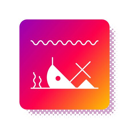 White Sunken ship at the bottom of the sea icon isolated on white background. Square color button. Vector Illustration Ilustracja