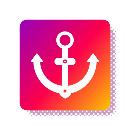 White Anchor icon isolated on white background. Square color button. Vector Illustration Ilustracja