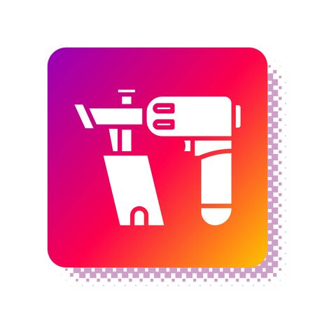 White Nail gun icon isolated on white background. Square color button. Vector Illustration Çizim