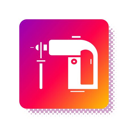 White Electric rotary hammer drill machine icon isolated on white background. Working tool for construction, finishing, repair work. Square color button. Vector Illustration