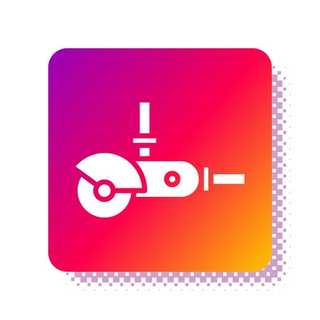 White Angle grinder icon isolated on white background. Square color button. Vector Illustration Çizim