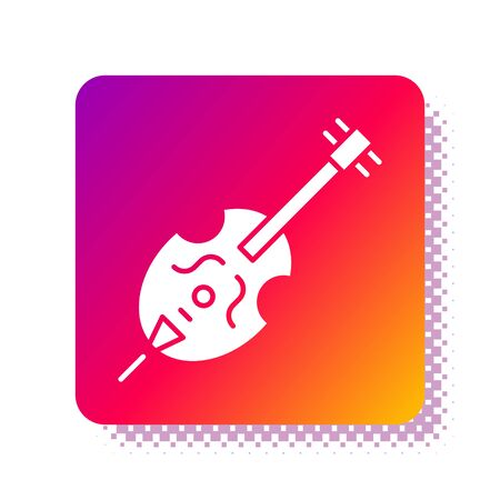 White Violin icon isolated on white background. Musical instrument. Square color button. Vector Illustration Ilustrace