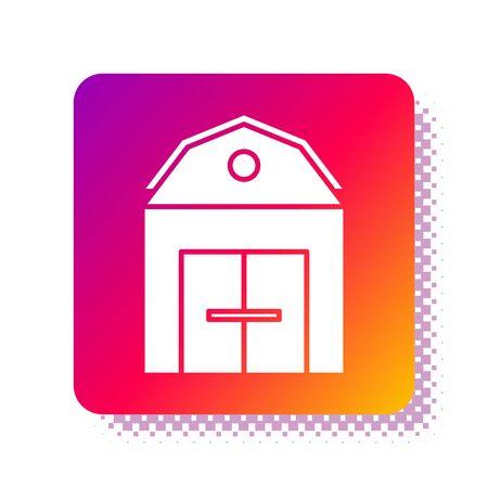White Farm House concept icon isolated on white background. Rustic farm landscape. Square color button. Vector Illustration