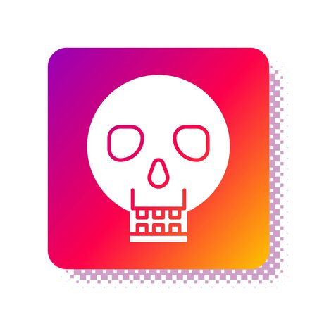 White Skull icon isolated on white background. Happy Halloween party. Square color button. Vector Illustration Фото со стока - 137966340