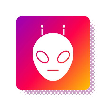 White Alien icon isolated on white background. Extraterrestrial alien face or head symbol. Square color button. Vector Illustration Çizim